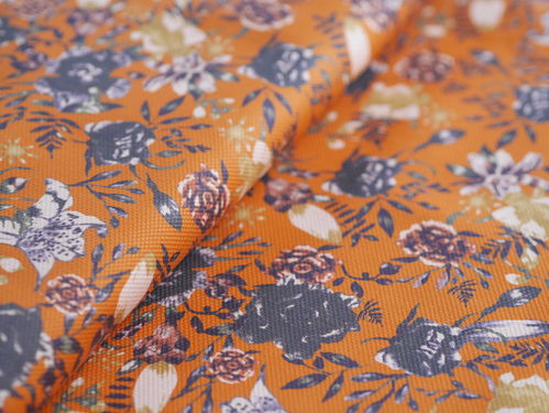 Baumwoll-Stretch Blumen orange-ocker